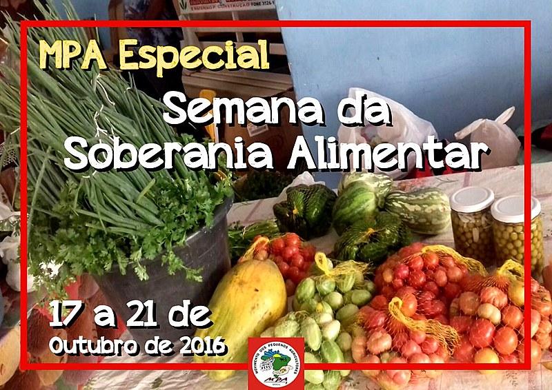 Divulgação do Movimento dos Pequenos Agricultores sobre o especial da Semana de Soberania Alimentar