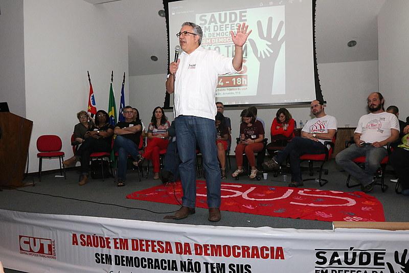 Padilha participa junto a profissionais da saúde de ato em defesa da democracia e do SUS Faculdade de Saúde Pública da USP, em 2016