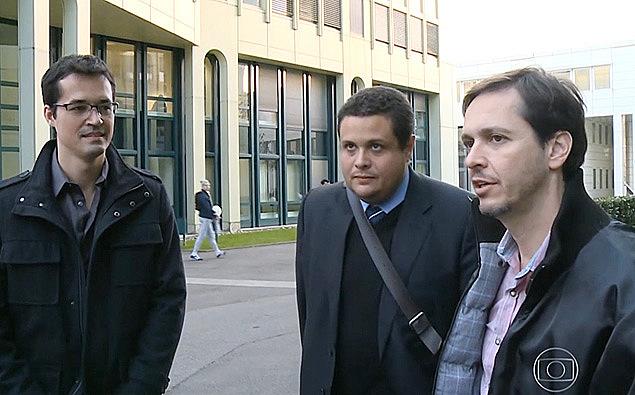 Os procuradores Deltan Dallagnol (esq.), Eduardo Pellela e Orlando Martello na Suíça