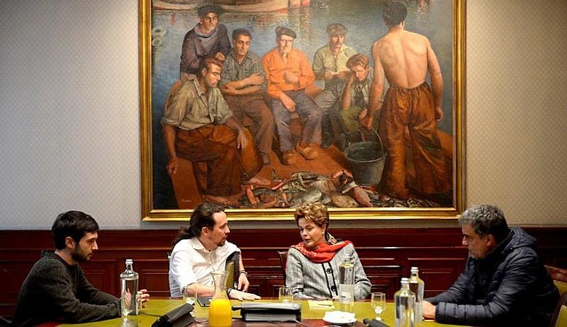 Dirigentes do Podemos reunidos com a presidenta Dilma Rousseff em abril deste ano