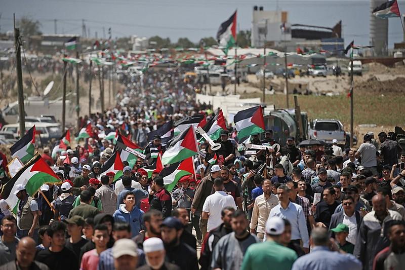 Ato na quarta (15) na Cidade de Gaza pelo 71º aniversário da Nakba, que marca o êxodo palestino provocado pela criação do Estado de Israel