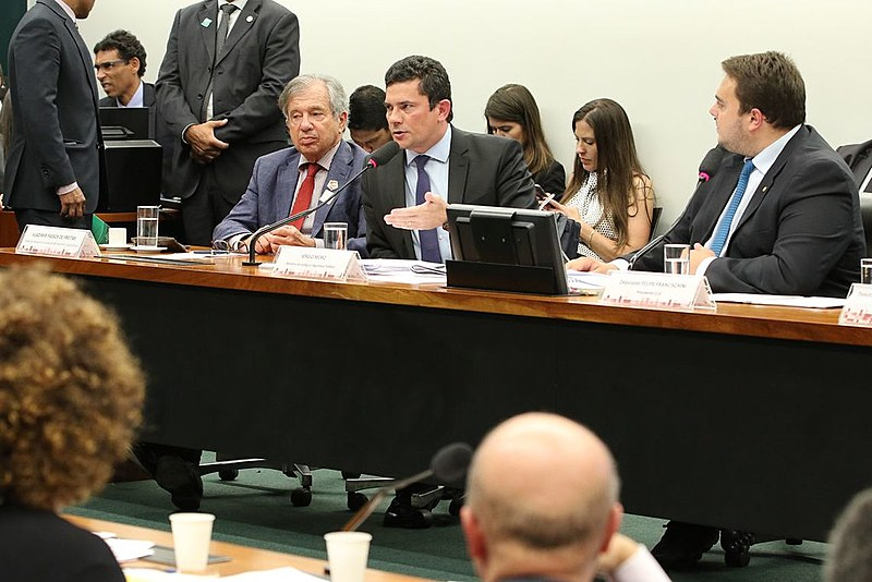 O ministro Sergio Moro durante audiência pública na Comissão de Constituição e Justiça (CCJ) da Câmara dos Deputados