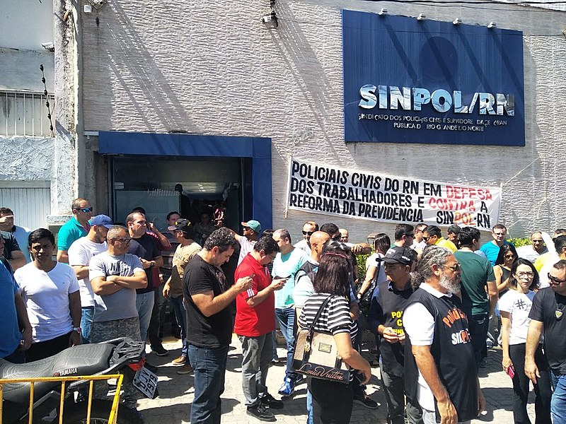Em Natal, policiais se concentraram na sede do Sinpol