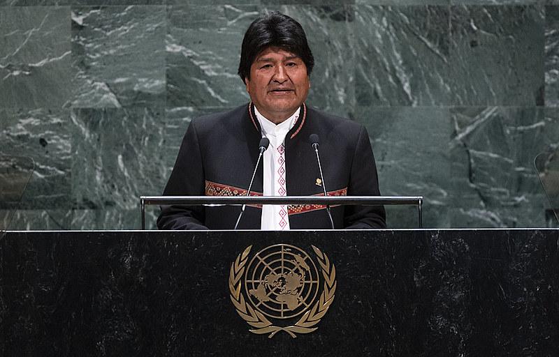 Atual presidente Evo Morales discursa na Assembleia Geral das Nações Unidas