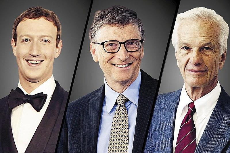 Mark Zuckerberg, Bill Gates e o brasileiro Jorge Paulo Lemann estão entre os mais ricos do mundo.