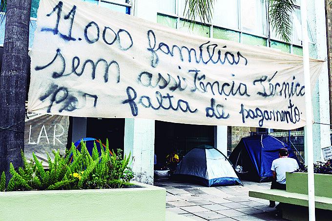Mobilização em 2017 na superintendência do Incra em Porto Alegre para denunciar o fim da Ater em assentamentos