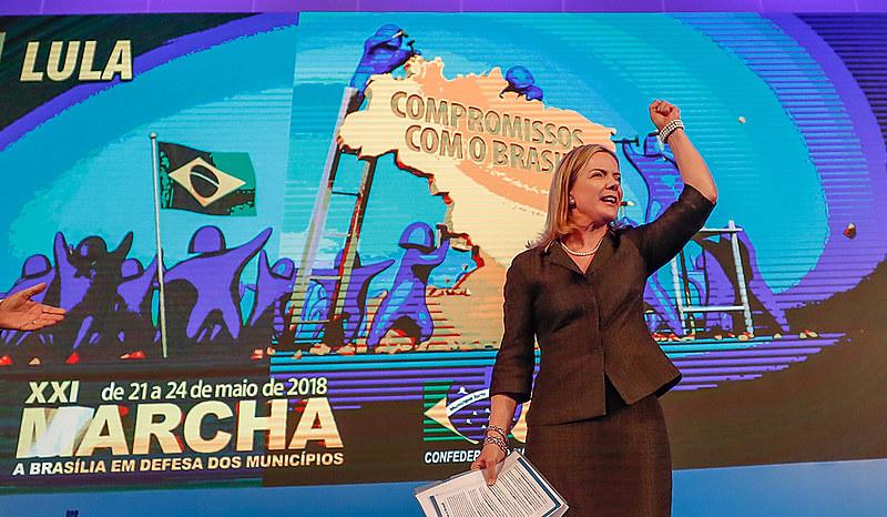 A presidenta nacional do PT, Gleisi Hoffmann