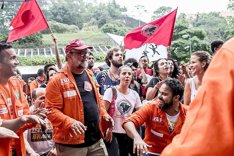 Ação do Levante Popular da Juventude em parceria com a Federação Única dos Petroleiros (FUP) em defesa da Petrobras, em dezembro de 2017