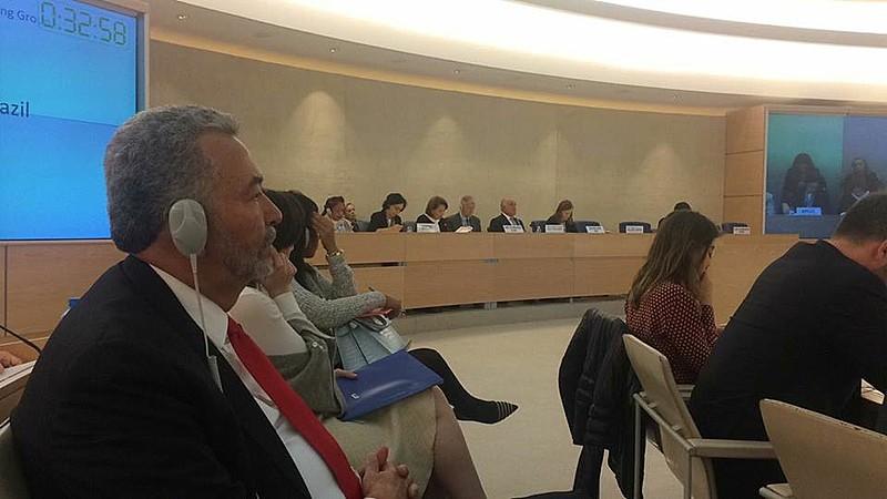 O parlamentar Paulão na assembleia da RPU da ONU sobre Direitos Humanos, em Genebra, representando a Comissão de Direitos Humanos e Minorias