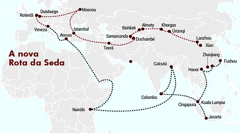 Traçado da nova Rota da Seda; na imagem ainda não há o caminho que levará até a América Latina