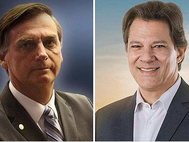 Far-right Jair Bolsonaro (left) and left-wing presidential hopeful Fernando Haddad will battle in runoff vote on Oct. 28
