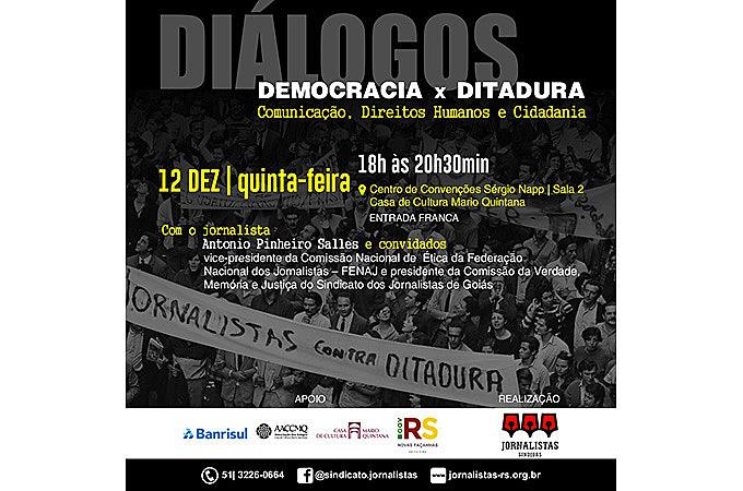 Debate contará com a presença do ex-preso político e e vice-presidente da Comissão Nacional de Ética/FENAJ, Antônio Pinheiro Salles