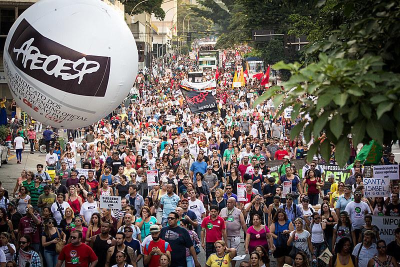 Greve dos professores estaduais em São Paulo