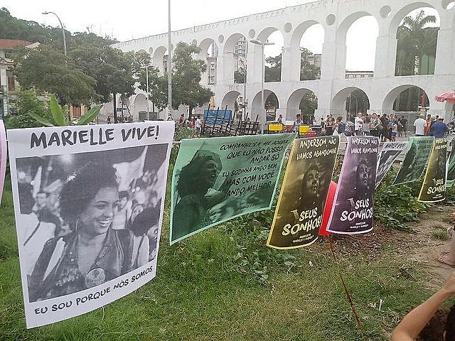 Acto en memoria de Marielle Franco en Rio de Janeiro