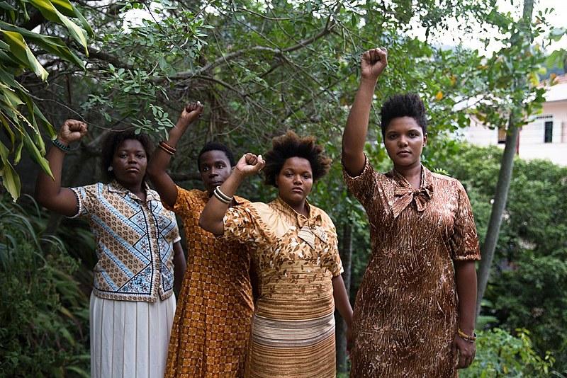 As atrizes Dandara Raimundo, Isabel Martins Zua, Lívia Laso, Daí Ramos fazem parte do elenco de Kbela, filme de Yasmin Thayná.