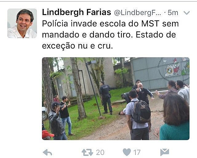 """Senador Lindbergh Farias afirma no Twitter que ação é """"Estado de excessão nu e cru"""""""