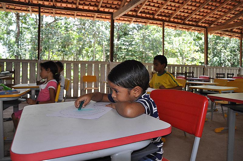 Escola da comunidade Espírito Santo, comunidade quilombola localizada em Acará, um dos municípios do Pará