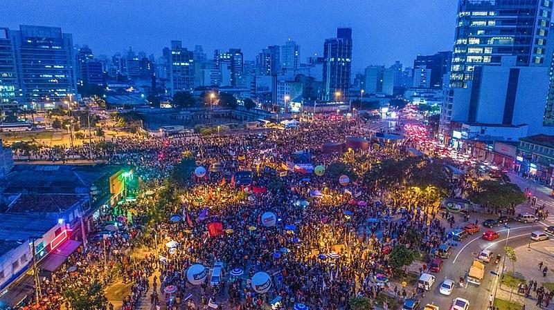 Cerca de 70 mil pessoas estiveram no ato da Greve Geral no Largo da Batata, na capital paulista