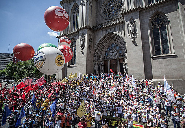 Brazilian labor unions hold nation wide protests against controversial labor law