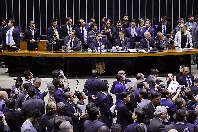 Brazil's lower house of Congress during second-round vote to pass Bolsonaro's proposed pension reform bill