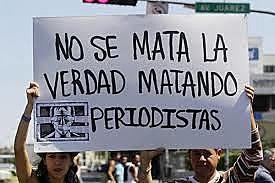 Protesto contra a violência aos comunicadores em Xalapa, no México, no início deste ano