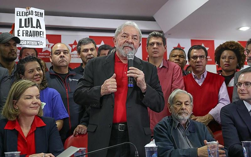 Lula fez um pronunciamento na sede do PT, após sentença de primeira instância contra ele