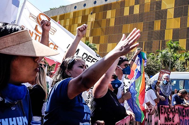 O ato é o resultado de uma caravana que mobilizou ao todo 5 mil trabalhadores de diversos estados para uma marcha a Brasília