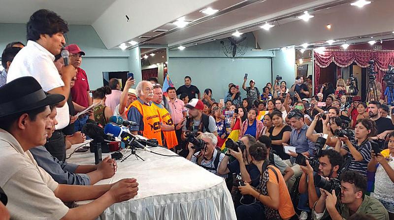 O ex-presidente Evo Morales durante encontro de dois dias com os líderes do MAS-IPSP e do Pacto de Unidade que definiu os candidatos
