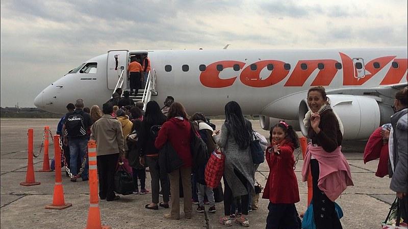 Avião da Conviasa, companhia aérea estatal venezuelana, resgata cidadãos na Argentina