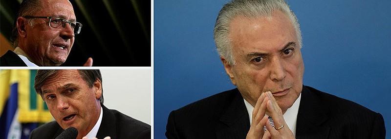 Nas bancadas dos oito partidos alinhados com Alckmin (DEM, PP, PPS, PR, PRB, PSD, PTB e SD), o apoio ao Temer variou entre 83% e 89%.