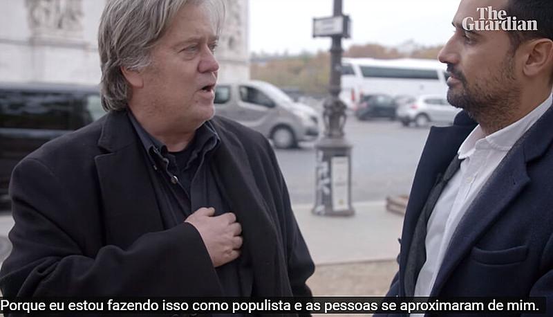 """Bannon oferece aos partidos de extrema direita ajuda com """"pesquisas, análises de dados, mídias sociais, criação de """"salas de guerra"""""""