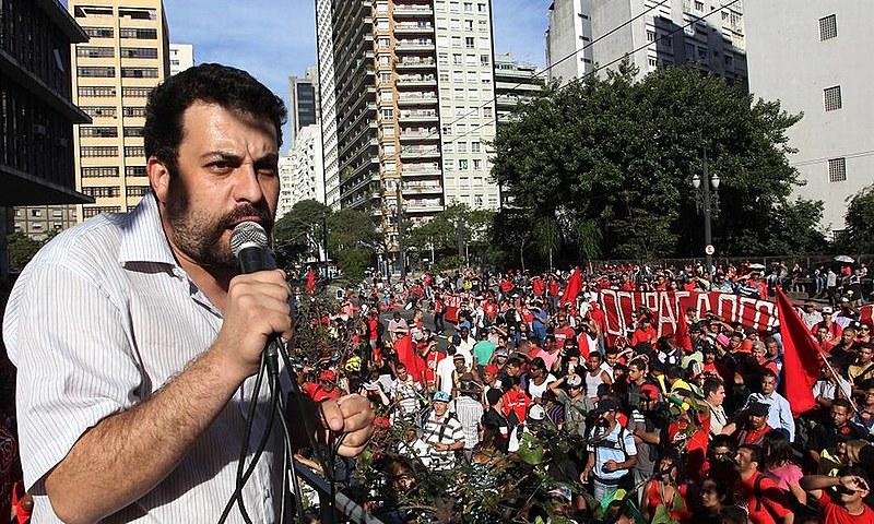 Guilherme Boulos, líder do MTST, durante discurso