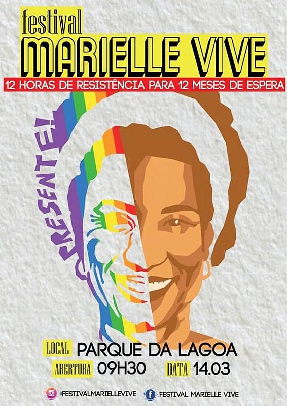Cartaz do festival 'Marielle Vive', em João Pessoa (PB).