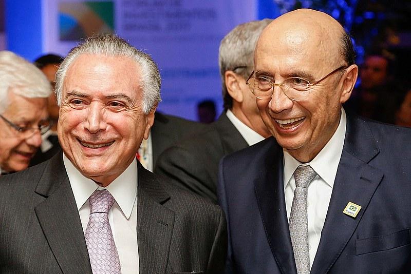 Presidente golpista, Michel Temer, e Henrique Meirelles no Jantado Fórum de Investimentos Brasil 2017