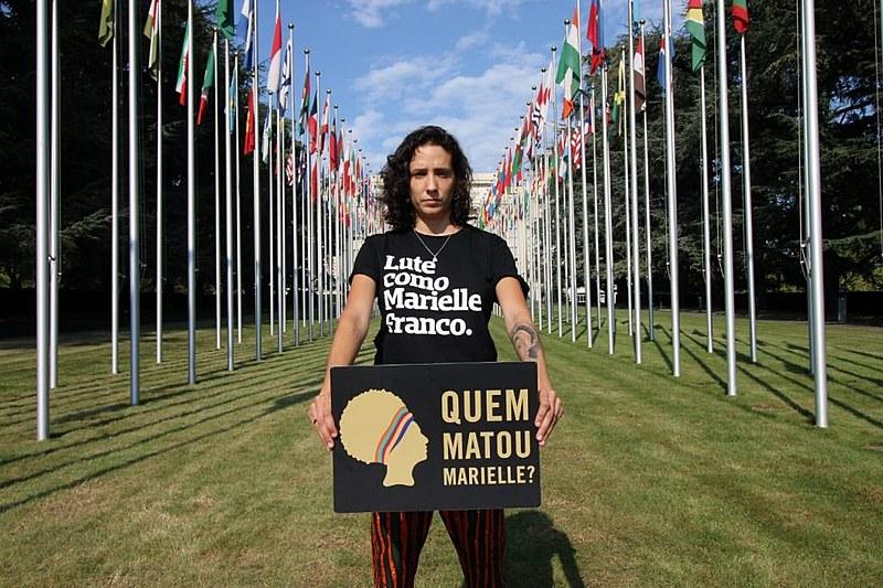 Monica Benício, viúva de Marielle Franco, participou de reunião na ONU, em Genebra