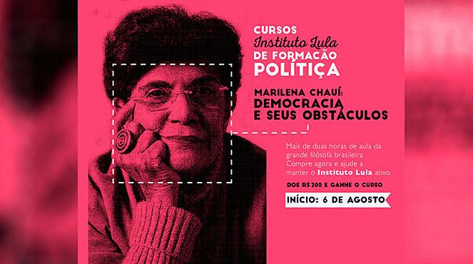 """Divulgação do curso inaugural, """"democracia e seus obstáculos"""", ministrado pela filósofa Marilena Chauí"""