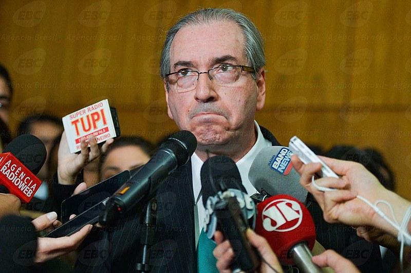 Eduardo Cunha durante coletiva de imprensa na Câmara em julho deste ano
