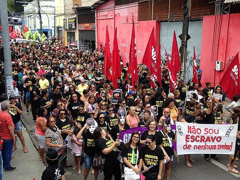 Em Fortaleza, a paralisação foi convocada pela Frente Brasil Popular