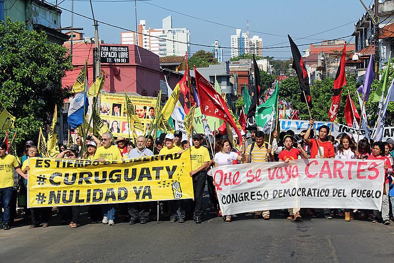 População pediu imediata anulação do julgamento dos camponeses de Curuguaty e a renúncia do presidente Horacio Cartes