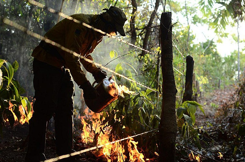 Brigadistas comunitários auxiliam no controle de queimada que atingiu Comunidade Quilombola Kalunga do Engenho II, em Goiás, em 2017
