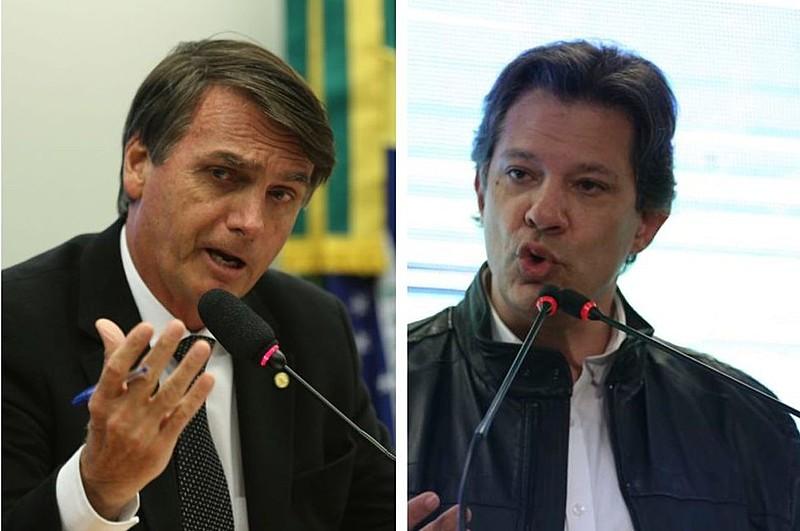 Segundo Datafolha, Bolsonaro e Haddad têm, respectivamente, 48% e 38% das intenções de voto nos votos totais