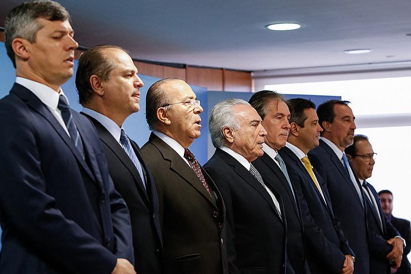 Cerimônia de posse dos novos ministros da saúde e transporte, nesta segunda-feira (2), no Palácio do Planalto