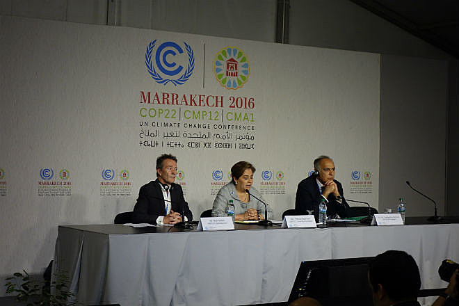 Ao lado de porta-voz da COP22, secretária Executiva da UNFCCC e presidente da COP22 (dir) comentaram expectativas para conferência
