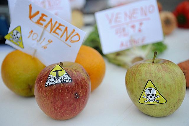 Instalación de protesta contra alimentos con agrotóxicos y transgénicos en Rio de Janeiro, en 2014
