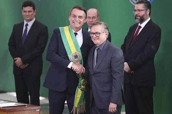 O ministro da Educação, Ricardo Vélez Rodríguez, durante cerimônia de nomeação dos ministros