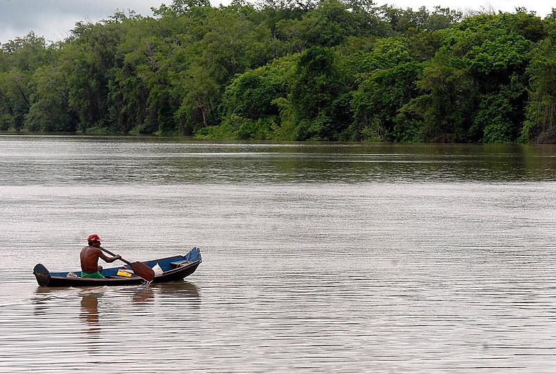 Indígena navega em área de proteção ambiental na Amazônia