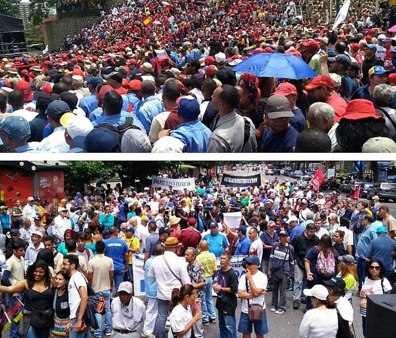 Na foto de cima, a esquerda venezuelana mostra sua força nesse Dia dos Trabalhadores