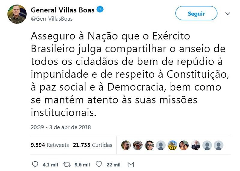O tuíte foi divulgado pela Rede Globo dNacional na véspera do julgamento