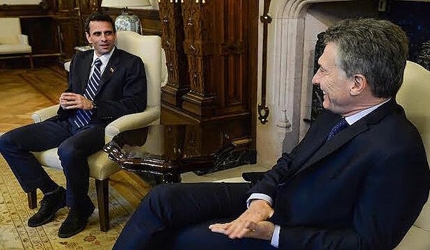 El dirigente opositor venezolano Henrique Capriles fue recibido por Mauricio Macri el lunes en la Casa Rosada