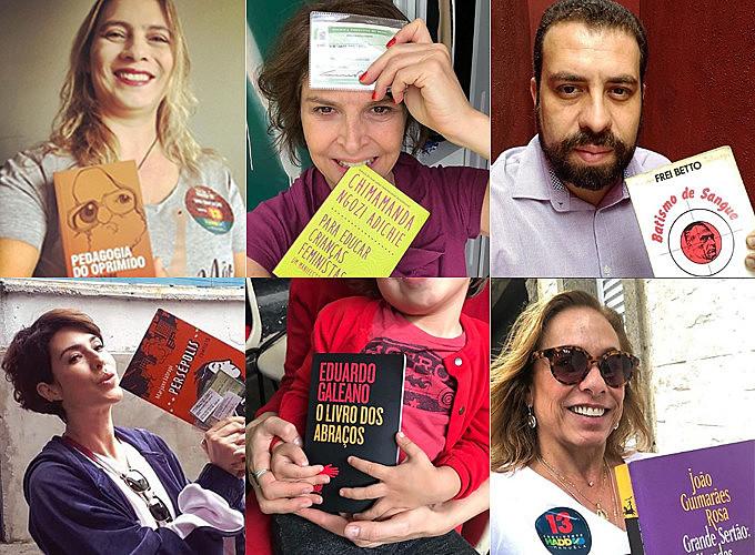 Famosos e anônimos foram às urnas neste domingo munidos de livros, em defesa da democracia